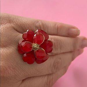 Zara Red Flower Ring